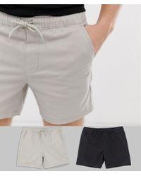 ASOS - Lot de 2 shorts chino courts ajusts taille lastique - Lyst