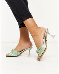 TOPSHOP – Pantoletten mit Absatz und Knotendesign vorn - Grün