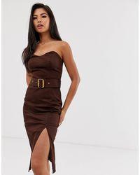 River Island Платье-футляр Шоколадного Цвета С Поясом -коричневый