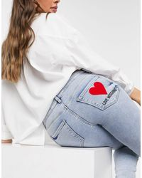 Love Moschino Голубые Джинсы Скинни С Логотипом На Кармане -синий