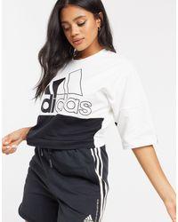 adidas Top color block - Blanc