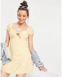 Hollister Puff Sleeve Frill Hem Dress - Pink