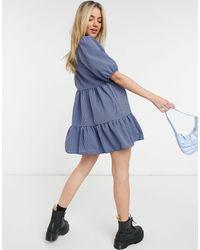 New Look Синее Клетчатое Платье Мини С Пышными Рукавами И Присборенной Юбкой -голубой - Синий