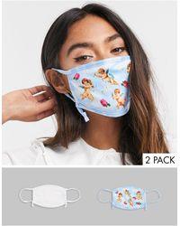 Skinnydip London Esclusiva - Confezione da 2 mascherine regolabili bianco tinta unita e con cherubini - Multicolore