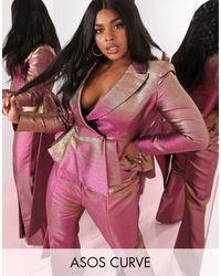 ASOS ASOS DESIGN Curve – Luxe – Zweifarbiger, strukturierter Blazer mit Wasserfallausschnitt - Pink