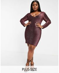 Fashionkilla Glitter Plunge Front Mini Bodycon Dress With Ruched Bum Detail - Pink