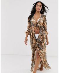 ASOS Spliced Animal Print Tie Front Beach Kimono - Brown
