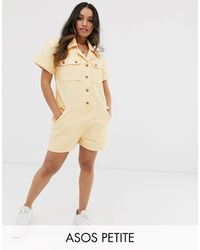 ASOS Asos Design Petite Denim Romper Playsuit - Yellow