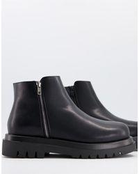 Truffle Collection - Черные Ботинки С Квадратным Носком, На Массивной Подошве И Шнуровке -черный Цвет - Lyst