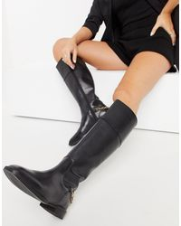 ASOS Camilla Leather Riding Knee Boots - Black