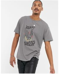 Heart & Dagger Scoop Neck T-shirt With Print-white - Grey