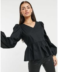 Y.A.S . Aura V-neck Smock Top - Black