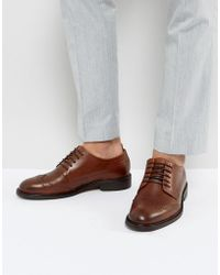 SELECTED - Baxter Leather Brogue Shoes In Cognac - Lyst