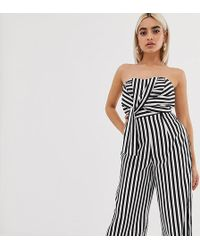 Boohoo Exclusieve Culotte-jumpsuit Met Bandeau-hals, Zwart-witte Strepen En Geknoopte Voorkant