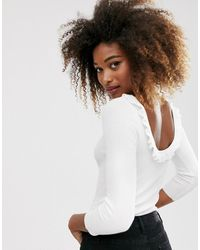 Stradivarius Open Back Sweater With Frill Detail In White