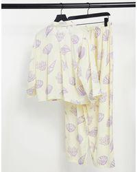 ASOS Пижамный Комплект Из Рубашки С Длинными Рукавами И Брюк Из Модала Желтого Цвета С Принтом Ракушек - Желтый