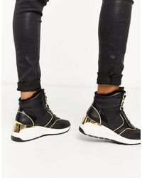 River Island Lace Up Wedge Trainer - Black