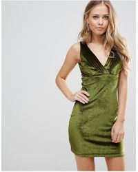 Wyldr Distractions Velvet Mini Dress With Front Pleating Detail - Green