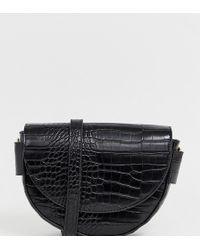 Mango Semi Circle Croc Effect X Body Bag In Black