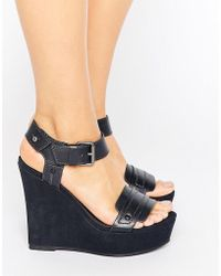 G-Star RAW Claro Navy Leather Wedge Sandals - Blue