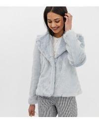 Miss Selfridge Short Coat In Blue Faux Fur