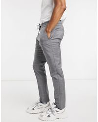 HUGO Zennet202 Tapered Fit Checked Trousers - Grey