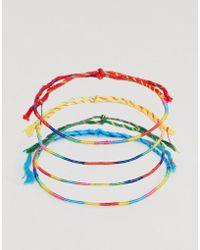ASOS - Design Tie Bracelet Pack In Multicolour - Lyst