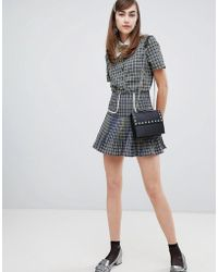 Sister Jane Mini Skirt In Check Two-piece - Blue