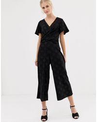 Oasis Glitter Jumpsuit With Twist Front - Black