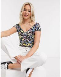 Miss Selfridge Bardot Bodysuit - Multicolour