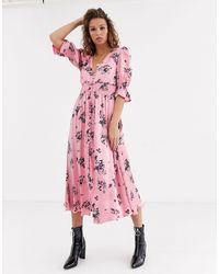 Ghost Anna Printed Satin Midi Dress-pink
