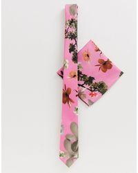 ASOS Cravate fine et pochette pour mariage - Rose