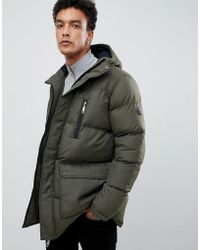 Criminal Damage Longline Puffer Jacket - Green