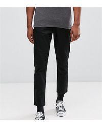 ASOS - Tall Tapered Cropped Chinos In Black - Lyst