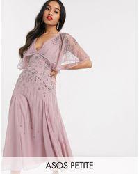 ASOS Платье Миди С Цветочной Отделкой Кейпом - Розовый