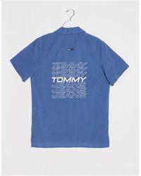 Tommy Hilfiger Синяя Рубашка С Короткими Рукавами И Логотипом На Спине -голубой - Синий