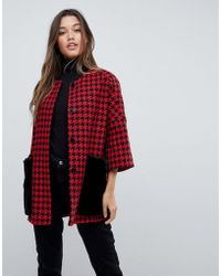 Helene Berman - Faux Fur Dogtooth Pockets Kimono Coat - Lyst