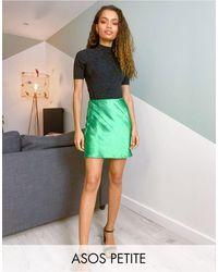 ASOS Asos Design Petite Mini High Shine Satin Slip Skirt - Green