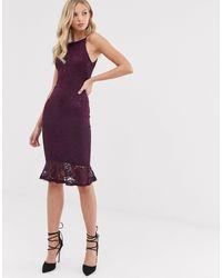 AX Paris - Кружевное Облегающее Платье С Баской -фиолетовый - Lyst