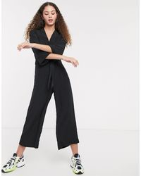 Monki Tie Waist Jumpsuit - Black
