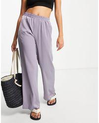ASOS - Pantaloni da abito stile pigiama lilla comodi a fondo ampio - Lyst