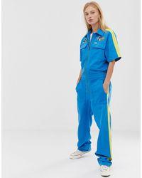 Wrangler Blue & Yellow Short Sleeve Overall Jumpsuit