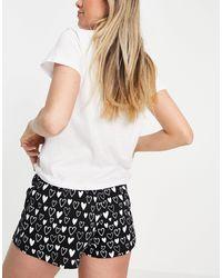 Brave Soul Hate Short Pajama Set - White