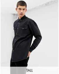 Collusion Tall Oversized Western Denim Shirt - Black