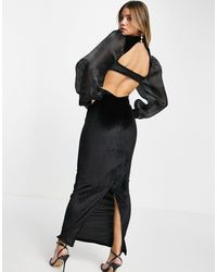 ASOS Organza Sleeve & Velvet Midaxi Dress With Open Back - Black