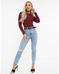 Missguided Body With Button Cuff - Red