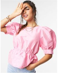 Vero Moda Top With Puffed Sleeves - Pink