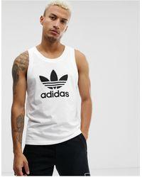 adidas Originals Camiseta sin mangas en blanco con logo
