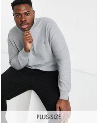 Polo Ralph Lauren – Big & Tall – Baumwollstrickpullover mit halblangem Reißverschluss & Polospieler-Logo - Grau