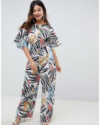b79db86800f3 ASOS - Jumpsuit With Kimono Cape Detail And Wide Leg In Animal Floral Print  - Lyst
